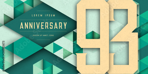 Obraz na plátně Anniversary emblems celebration logo, 93rd birthday vector illustration, with texture background, modern geometric style and colorful polygonal design
