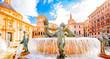 Leinwanddruck Bild - Historic Turia Fountain (Fuente del Turia) with Neptune statue in Valencia