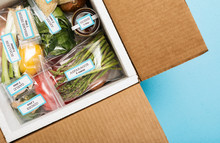Overhead View Of Ingredients In Meal Kit Box