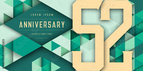 Fotografía Anniversary emblems celebration logo, 52nd birthday vector illustration, with texture background, modern geometric style and colorful polygonal design