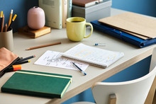 Student's Desk With Notes In N...