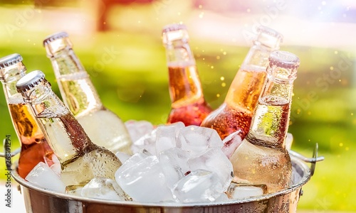 Bottles of cold and fresh beer with ice isolated Canvas Print