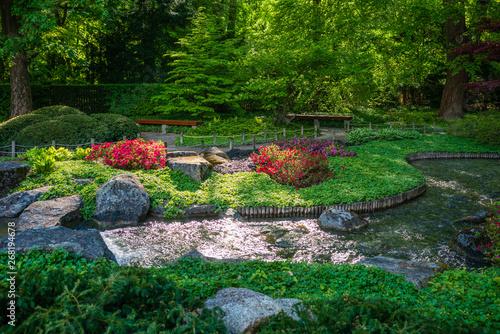 D, Bayern, Augsburg, Botanischer Garten, Japanischer Garten im Frühjahr