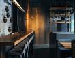 Inside of modern restaurant in dark colors