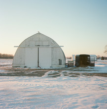 Michigan Hay Barn In Winter Rural Area Farm