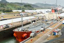 Ship Transversing Panama Canal Miraflores Locks From Atlantic To Pacific