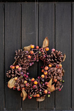 Fall Themed Wreath On A Door