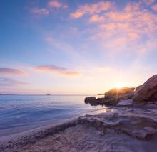 Beautiful Bright Sunrise At The Sea