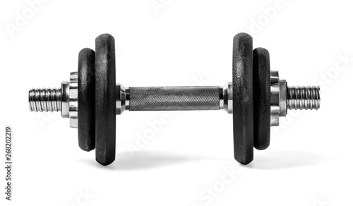 Fotografia dumbbells over white background
