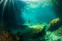Scuba Diver In The Cavern