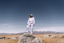 Astronaut Standing On Rock