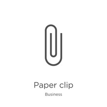 Paper Clip Icon Vector From Business Collection. Thin Line Paper Clip Outline Icon Vector Illustration. Outline, Thin Line Paper Clip Icon For Website Design And Mobile, App Development.
