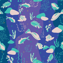Seamless Pattern Illustration Of Underwater Corals, Whales, Rocks, Stingray, Fish And Seaweeds In Aqua, Purple, Indigo And Turquoise. Perfect For Gifts, Background, Fabric And Scrapbooking.