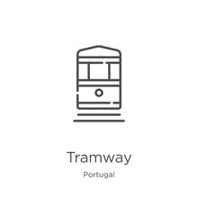 Tramway Icon Vector From Portugal Collection. Thin Line Tramway Outline Icon Vector Illustration. Outline, Thin Line Tramway Icon For Website Design And Mobile, App Development.