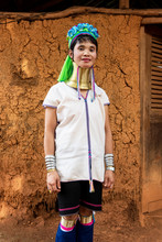 Portrait Of An Authentic Long Neck Tribal Woman From Thailand