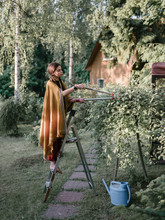 Gardener Working With Tree In The Summer House