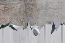 Detail Of Peeling Metal Siding On Warehouse Wall