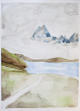 Alpine Landscape In Watercolor