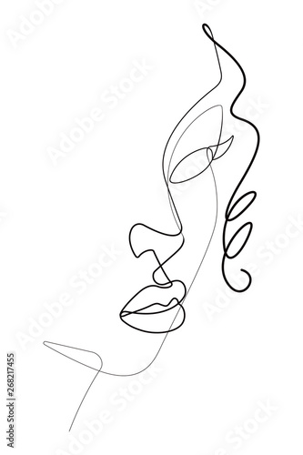 Female Face Portrait One Continuous Line Vector Graphic