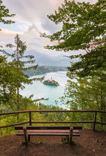 Lake Bled, Slovenia - Above View From A Bench On Top Of A Mountain