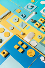 Blue/cyan And Yellow Abstract Geometric Composition/still Life.