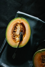 Overhead View Of Cantaloupe Melon On Napkin