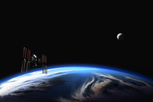 International Space Station And Moon Orbiting Earth
