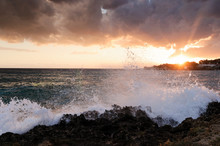 Waves Crushing Agains The Rocky Coast In Apulia