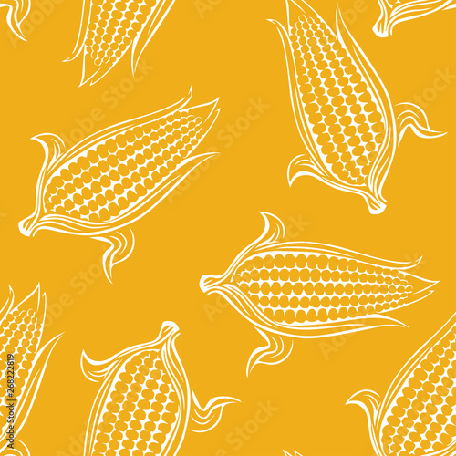 obraz dibond Sweet corn seamless pattern on yellow background. Simple vector monochrome illustration of maize. Cereal crop outline.