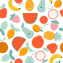 Seamless Pattern With Tropical Fruits. Perfect Print For Kitchen Textiles. Vector Hand Drawn Illustration.