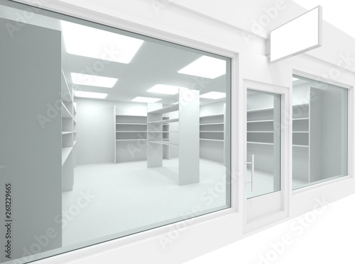 Fotografia Empty new shop interior with shelving and clean signboard copy space, mock up design store interior, 3d render illustration