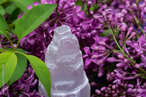 Garden Poster White Selenite Everest carving surrounded by purple lilac flowers.