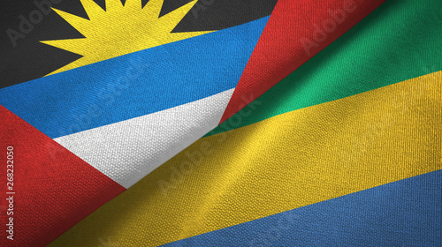 Fotografie, Obraz  Antigua and Barbuda and Gabon two flags textile cloth, fabric texture