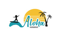 Aloha Hawaii Background With Surfing Men On Abstract Grahic Shape Blue Water, Yellow Sun, Palm Tree. Template For  Logo, Icon Or Sign For Surf Board Shop. Design T-shirt Print. Vector Illustration.