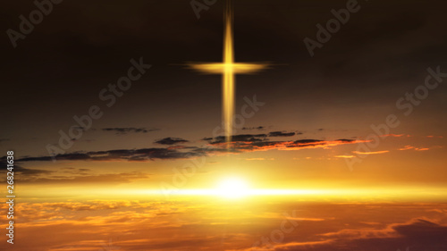 Fotografie, Obraz Heavenly Cross Religion Symbol Shape Dramatic Nature Background Glowing Cross