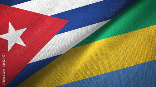 Photo  Cuba and Gabon two flags textile cloth, fabric texture