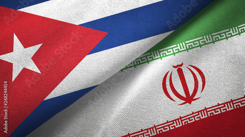 Cuba and Iran two flags textile cloth, fabric texture Wallpaper Mural