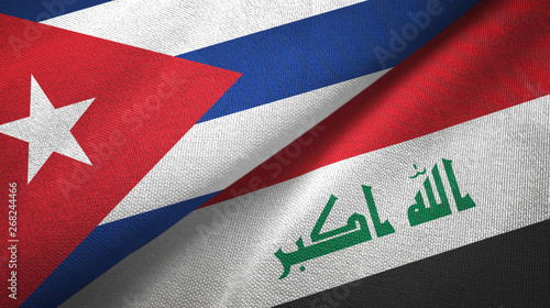 Photo  Cuba and Iraq two flags textile cloth