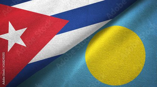 Photo  Cuba and Palau two flags textile cloth, fabric texture