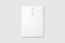 White A4/C4 Size String And Washer Envelope Mockup On Light Grey Background. High Resolution.
