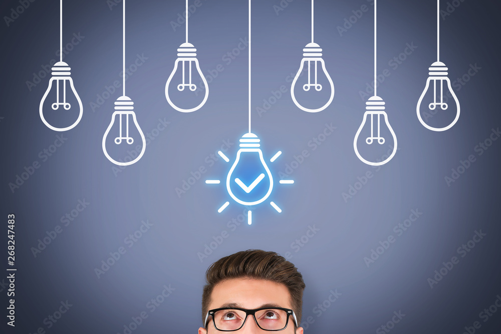 Fototapety, obrazy: Idea Solution Concepts with Light Bulb on Visual Screen