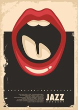 Jazz Music Concert Retro Poster Design. Vector Illustration.