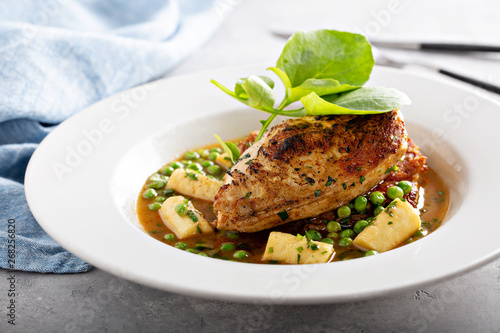 Photo  Spring recipie roasted chicken with peas and pasta