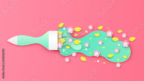 Fotografija Illustration of bouquet in the form of paint brush for spring season
