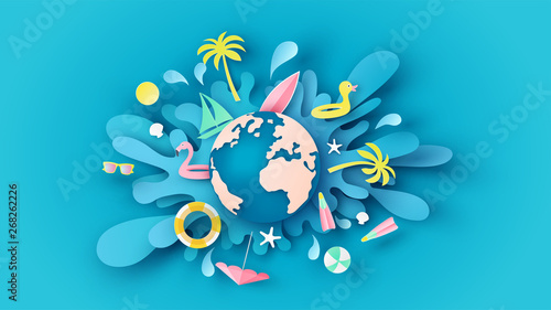 Fototapeta Globe dropped on the blue sea water surface and beach equipment splash around. Graphic design for summer. paper cut and craft style. vector, illustration. obraz
