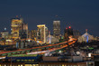 Scene of Boston skyline which can see Zakim Bridge and Tobin Bridge with express way over the Boston Cityscape at twilight time, USA downtown skyline, Architecture and building with tourist concept