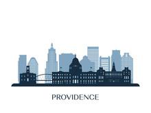 Providence Skyline, Monochrome Silhouette. Vector Illustration.
