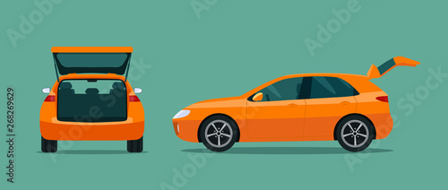 Foto op Aluminium Cartoon cars Сar with open boot. Side and back view. Vector flat style illustration