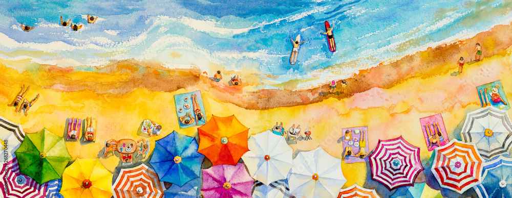 Fototapeta Painting watercolor seascape Top view colorful of lovers, family.