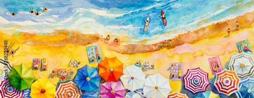 Fototapeta Painting watercolor seascape Top view colorful of lovers, family. obraz